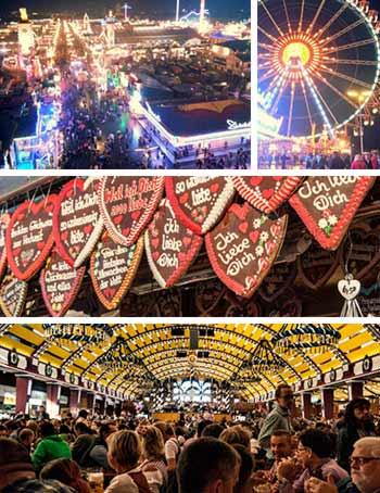 World Famous Oktoberfest Festival Munich Lebkuchenherzl Bierzelt Riesenrad Beertent